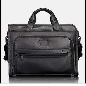 Tumi Alpha Black Leather Expandable Briefcase